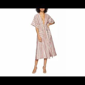 Free People Monday Midi Striped Linen Dress
